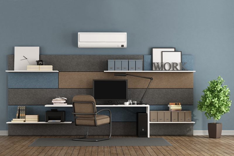 Blue and brown modern office